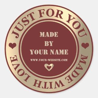 Adesivo Redondo Handmade apenas para você fez a amor o marrom mais