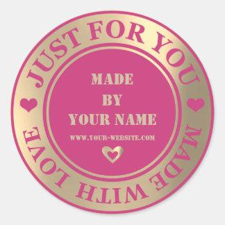 Adesivo Redondo Handmade apenas para você fez a amor o rosa mais