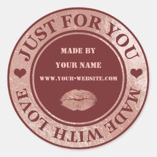 Adesivo Redondo Handmade apenas para você fez o beijo do ouro do