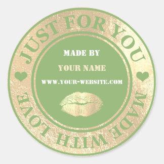 Adesivo Redondo Handmade apenas para você fez o beijo verde do