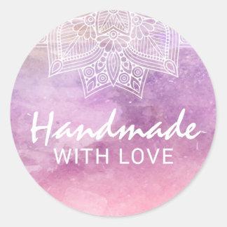 Adesivo Redondo Handmade com artesanatos da mandala da aguarela do