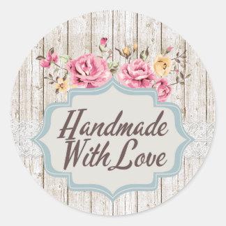 Adesivo Redondo Handmade com madeira rústica floral do chique do