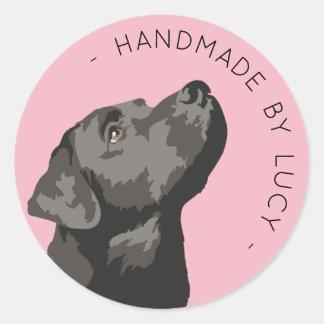 Adesivo Redondo Handmade feitos sob encomenda pretos de Labrador