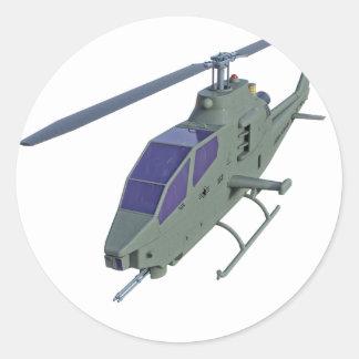 Adesivo Redondo Helicóptero de Apache na vista dianteira