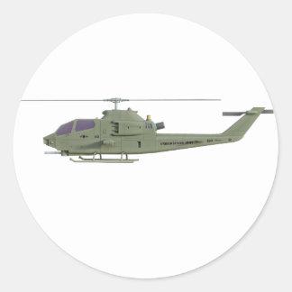Adesivo Redondo Helicóptero de Apache no perfil da vista lateral