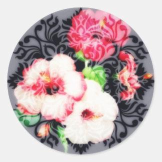 Adesivo Redondo Hibiscus antiquado clássico
