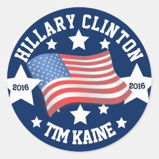 Adesivo Redondo Hillary Clinton e Tim Kaine 2016