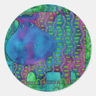 Adesivo Redondo Hipopótamo modelado