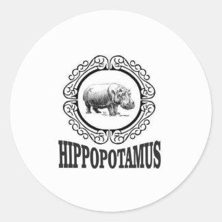 Adesivo Redondo Hipopótamo quadro