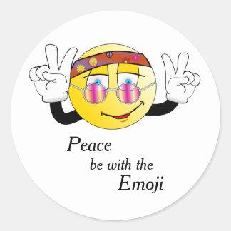"Adesivo Redondo Hippie ""paz"" Emoji"