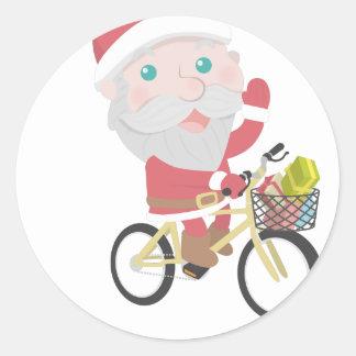 Adesivo Redondo homem da neve da rena do Natal de Papai Noel