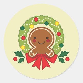 Adesivo Redondo homem de pão-de-espécie, inverno, Natal, feriado,