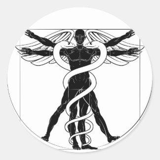 Adesivo Redondo Homem de Vitruvian do Caduceus