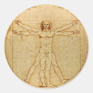 Adesivo Redondo Homem de Vitruvian, Leonardo da Vinci, cerca de