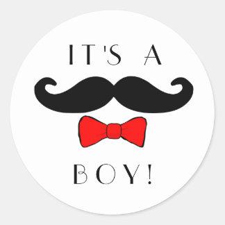 Adesivo Redondo Homem pequeno é um bigode do menino e um Bowtie
