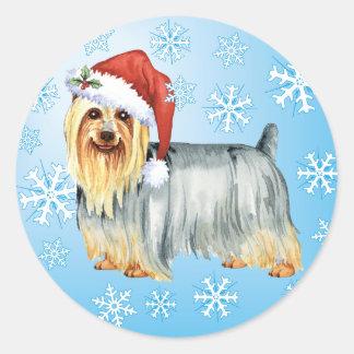 Adesivo Redondo Howlidays feliz Terrier de seda