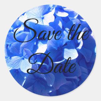 Adesivo Redondo Hydrangea dos azuis cobaltos - salvar a data