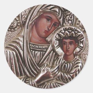 Adesivo Redondo Ícone da mãe e da criança, Madonna e Jesus na