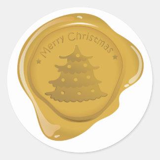 Adesivo Redondo Ícone do selo da cera do Natal - árvore de Natal