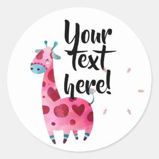 Adesivo Redondo Ideia temático cor-de-rosa do partido do girafa