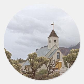 Adesivo Redondo Igreja de Elvis nas montanhas da superstição