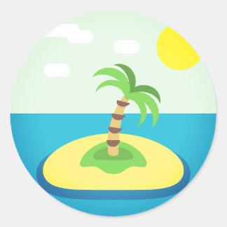 Adesivo Redondo Ilha tropical Emoji