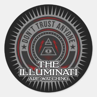 Adesivo Redondo Illuminati está olhando não confia qualquer um