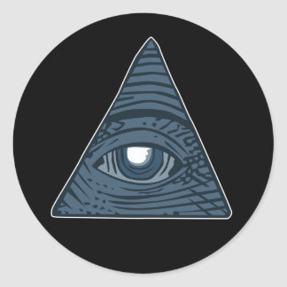 Adesivo Redondo Illuminati todo o símbolo de vista da pirâmide do