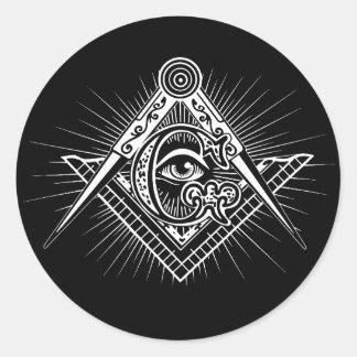 Adesivo Redondo Illuminati todo o símbolo de vista do Freemason do