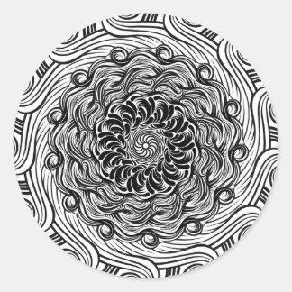 Adesivo Redondo Ilusão óptica do Doodle ornamentado do zen preto e