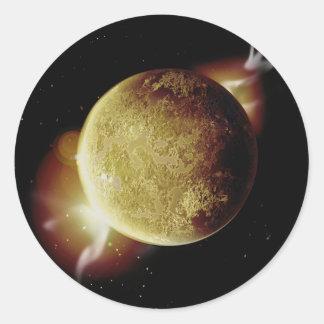 Adesivo Redondo ilustração amarela do planeta 3d no universo