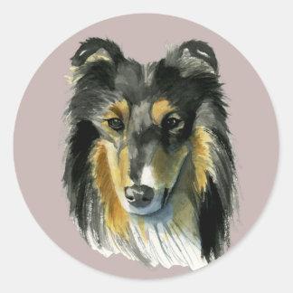 Adesivo Redondo Ilustração da aguarela do cão do Collie