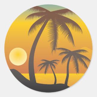 Adesivo Redondo Ilustração da praia e das palmeiras