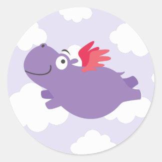 Adesivo Redondo Ilustração do hipopótamo do vôo
