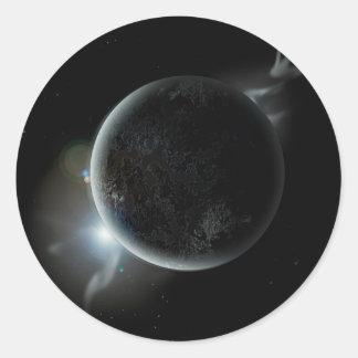 Adesivo Redondo ilustração preta do planeta 3d no universo