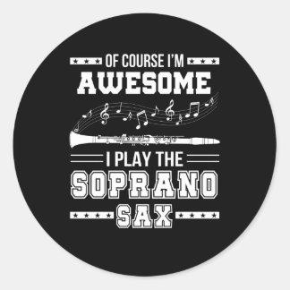Adesivo Redondo Im jogo impressionante de I o saxofone do soprano