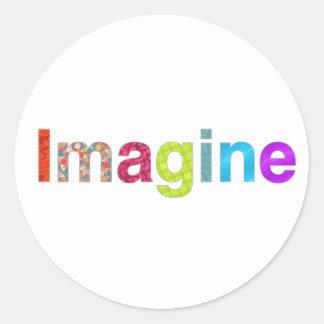 Adesivo Redondo Imagine o cartão colorido da inspiração do