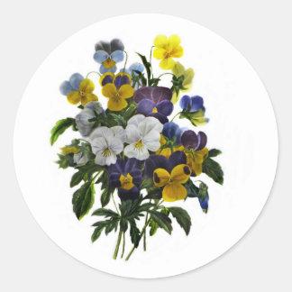 Adesivo Redondo Impressão botânico do amor perfeito do vintage