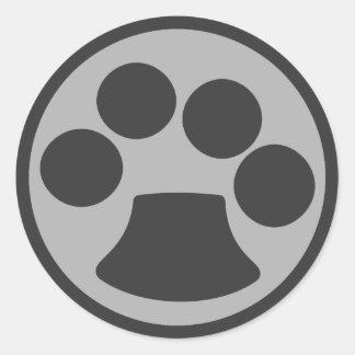 Adesivo Redondo Impressão da pata do gato do gatinho