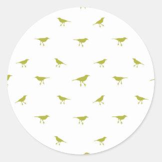 Adesivo Redondo Impressão da silhueta dos pássaros