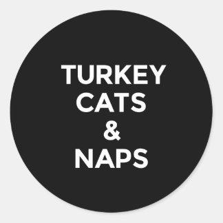 Adesivo Redondo Impressão engraçado dos gatos e das sestas de