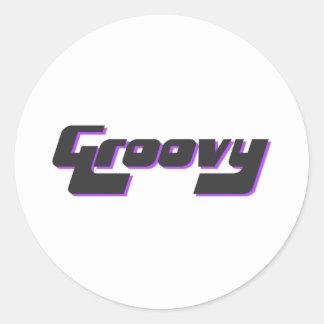 Adesivo Redondo Impressão Groovy agradável