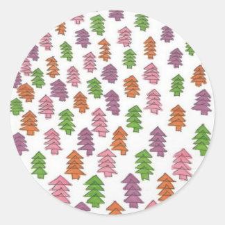 Adesivo Redondo Impressão infinito dos pinheiros da floresta