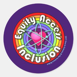 Adesivo Redondo Inclusão do acesso da equidade: Arco-íris,