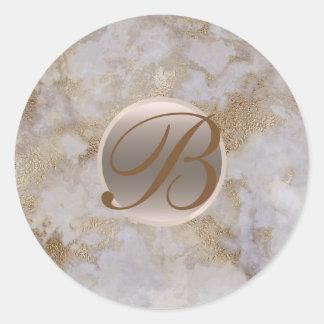 Adesivo Redondo Inicial chique moderna Glam de mármore do