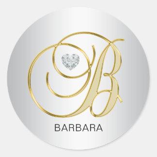 Adesivo Redondo Inicial Monogrammed B do ouro de prata elegante
