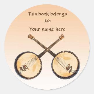 Adesivo Redondo Instrumento de música do banjo no Bookplate