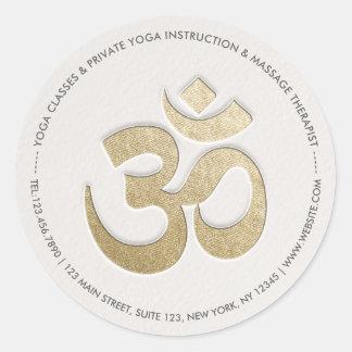 Adesivo Redondo Instrutor da meditação da IOGA do símbolo de OM do