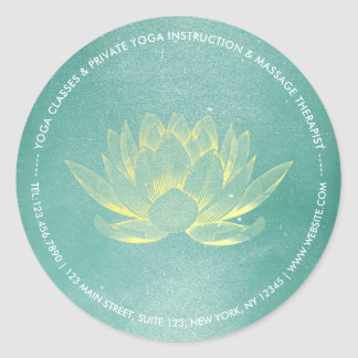 Adesivo Redondo Instrutor elegante da meditação da IOGA de Lotus