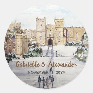 Adesivo Redondo Inverno no casamento da pintura do castelo de